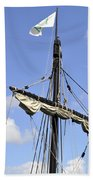 Mast And Rigging On A Replica Of The Christopher Columbus Ship P Bath Towel