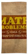 Math Problems Hotline Retro Humor Art Poster Hand Towel by Design Turnpike