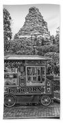 Matterhorn Mountain With Hot Popcorn At Disneyland Bw Bath Towel