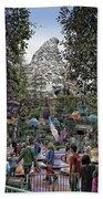 Matterhorn Mountain With Tea Cups At Disneyland Bath Towel