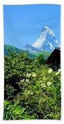 Matterhorn With Mountain Chalet Bath Towel
