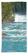 Mcdonald Creek Falls In Glacier Np-mt Bath Towel