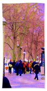 Mcgill Campus Eager Students Enter Roddick Gates Montreal Collectible Art Prints Carole Spandau  Bath Towel