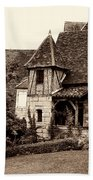 Medieval Cottage In Sarlat Sepia Bath Towel