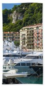 Mega Yachts In Port Of Nice France Bath Towel