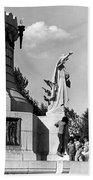 Memorial Statue Children Playing Juarez Chihuahua Mexico 1977 Black And White Bath Towel