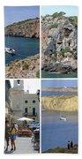 Menorca Collage 02 - Labelled Bath Towel