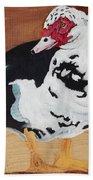 Merganser Duck Painted On Cedar Bath Towel