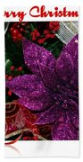 Merry Christmas Red Ribbon Bath Towel