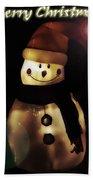 Merry Christmas Snowman  Bath Towel