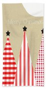 Merry Christmas With Red And White Trees Hand Towel by Linda Woods