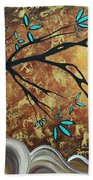 Metallic Gold Textured Original Abstract Landscape Painting Apricot Moon By Madart Bath Towel