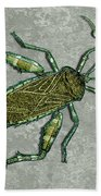 Metallic Green And Gold Prehistoric Insect  Bath Towel