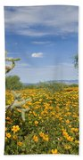 Mexican Golden Poppy Flowers And Cactus Bath Towel