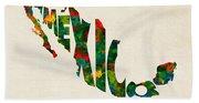 Mexico Typographic Watercolor Map Bath Towel