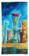 Miami City South Beach Original Painting Tropical Cityscape Art Miami Night Life By Madart Absolut X Hand Towel