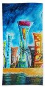 Miami City South Beach Original Painting Tropical Cityscape Art Miami Night Life By Madart Absolut X Bath Towel