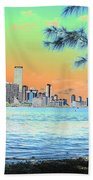 Miami Skyline Abstract II Bath Towel