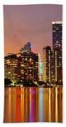 Miami Skyline At Dusk Bath Towel