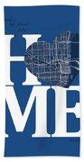 Miami Street Map Home Heart - Miami Florida Road Map In A Heart Bath Towel