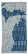 Michigan Great Lake State Word Art On Canvas Bath Towel