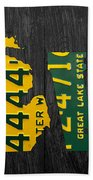 Michigan Love Recycled Vintage License Plate Art State Shape Lettering Phrase Bath Towel