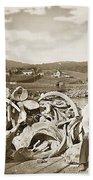 Mike Noon Monterey Whaler On Montereys Wharf  Circa 1890 Bath Towel