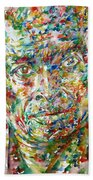 Miles Davis Watercolor Portrait.1 Bath Towel