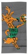 Milwaukee Bucks Basketball Team Logo Vintage Recycled Wisconsin License Plate Art Bath Towel