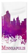 Minneapolis City Skyline Purple Hand Towel