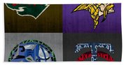 Minneapolis Sports Fan Recycled Vintage Minnesota License Plate Art Wild Vikings Timberwolves Twins Bath Towel
