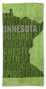 Minnesota Word Art State Map On Canvas Hand Towel