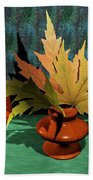 Mirror And Leaves Bath Towel
