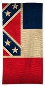 Mississippi State Flag Art On Worn Canvas Bath Towel