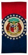 Missouri State Flag Art On Worn Canvas Hand Towel by Design Turnpike
