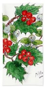 Mistletoe And Holly Wreath Bath Towel