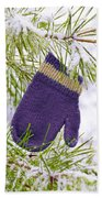 Mitten In Snowy Pine Tree Bath Towel
