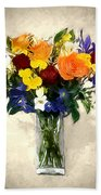 Mixed Bouquet Of Tropical Colored Flowers On Textured Vignette Oil Painting Bath Towel