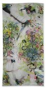 Modern Spring Blossom Art Painting Flower Butterfly Art Acrylic Ink Rice Paper Green Yellow Pink Sjk Bath Towel