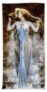 Modern Vintage Lady In Blue Bath Towel