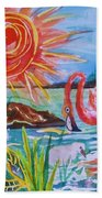 Momma And Baby Flamingo Chillin In A Blue Lagoon  Bath Towel