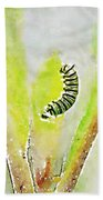 Monarch Caterpillar - Digital Watercolor Bath Towel