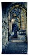 Monk In A Dark Corridor Bath Towel