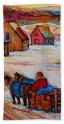 Mont St.hilaire Winter Scene Logger Heading Home To Quebec Village Winter Landscape Carole Spandau Bath Towel