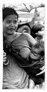 Montagnard Woman With Umbrella And Child Bath Towel