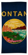 Montana State Flag Art On Worn Canvas Hand Towel by Design Turnpike