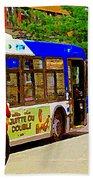 Montreal Bus Scenes Catching The 97 Bus Pontiac Corner Mont Royal Urban Montreal Art Carole Spandau Bath Towel