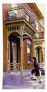 Montreal Memories Pretty Plateau Porches Lady Climbs Front Steps By Bricks Balconies Home Cspandau   Bath Towel