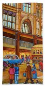 Montreal Memories-streetcars-morgan's Department Store At St.catherine And Union Hand Towel