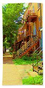 Montreal Stairs Winding Staircases And Sunny Tree Lined Sidewalks Verdun Scenes Carole Spandau  Bath Towel